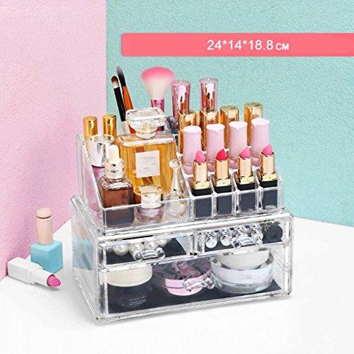 UOMUN Étui de Maquillage Cosmétique Boîte de rangement avec des dessins maquillage et boîte à bijoux Rouge à lèvres Présentoir brosse Support multifonction 2 niveaux non-acrylique