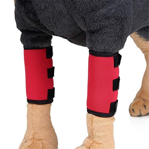 LANDOR Pet Knieschützer, Dog & Cat Vorderbeinspangen EIN Paar Pack Dog Carpal Unterstützung Kniepolster Chirurgie Injury Protective Cover Pet Protector Heimtierbedarf (L, Red) -