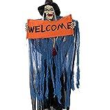 Halloween Deko Tür deko Hängend Gruselig Horror Geist Gespenst Zombie Demon mit Augen Glänzend für Halloween Deko Garten Tür (Blau)
