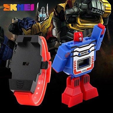 XKC-watches Herrenuhren, Roboter Uhr Montage Transformator Design Spielzeug Digitaluhr des Jungen (Farbe : Gelb, Großauswahl : Einheitsgröße)