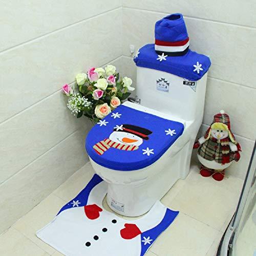 Viviki/Â/ Pupazzo di Neve Decorazioni di Buon Natale Pupazzo di Neve per WC Coprivaso e Tappeto Bagno Set Contour Tappeto Kerst Adornos De Navida