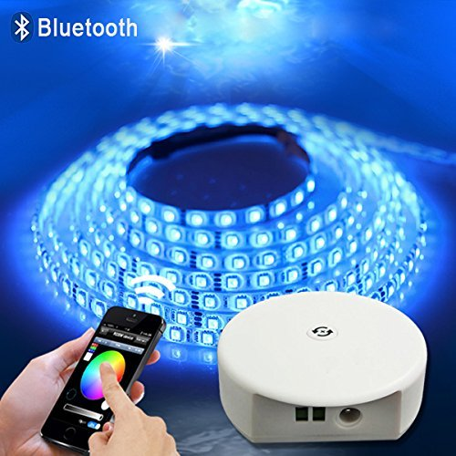Topled Light® 32.8ft/10M 24V SMD5050 Striscia di RGB di Smart Bluetooth LED Light + Smartphone App Controller + 24V 6A alimentazione, funziona con iPhone, Android, Windows e Kit Amazon Fuoco Phone & T 5M RGB