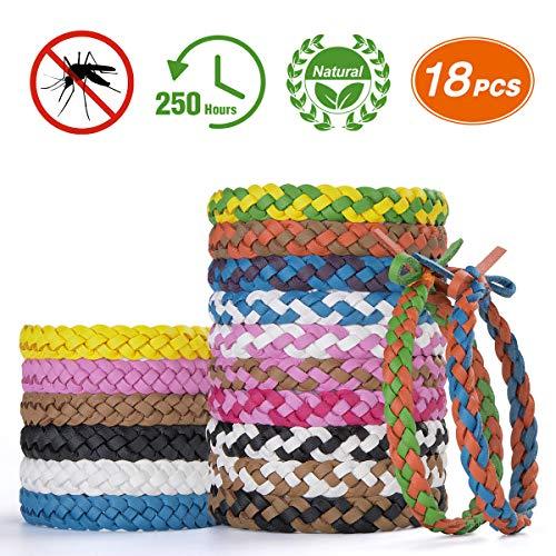 Homtiky braccialetti antizanzare, 18 pezzi bracciale repellente per zanzare, 100% naturale adatto agli adulti e bambini bracciali alla moda senza tossine per sport, viaggio, spiaggia, giardino