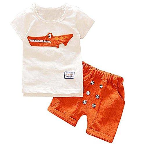 HUATENG Neugeborenen Outfits Set Baby Jungen Krokodil Gedruckt T-Shirt Tops + Kurze Hosen Kleidung Sets (Pj Kurze Set)