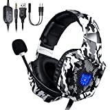 Cuffie Gaming per PS4, ONIKUMA Headset Gaming con Microfono Cancellazione del rumore, Controllo del volume, Illuminazione a LED RGB, per PS4/Xbox One X/S/Nintendo Switch/PC/Laptop/Tablet - Camouflage