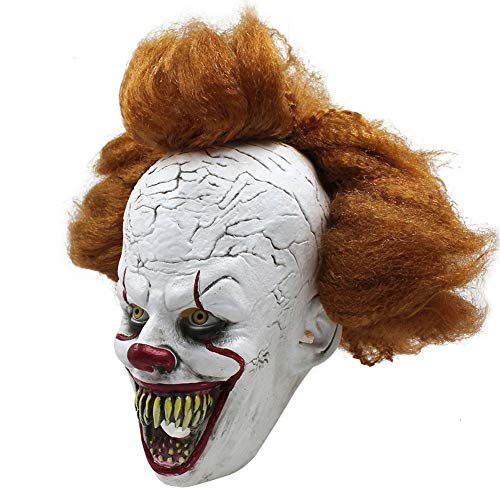 Unbekannt Pennywise Mask Horror Overhead Clown Maske Halloween Kostüm Party Gruselig Gruselig Dekoration Requisiten Kostümzubehör Erwachsener (Haut Maske Kostüm)
