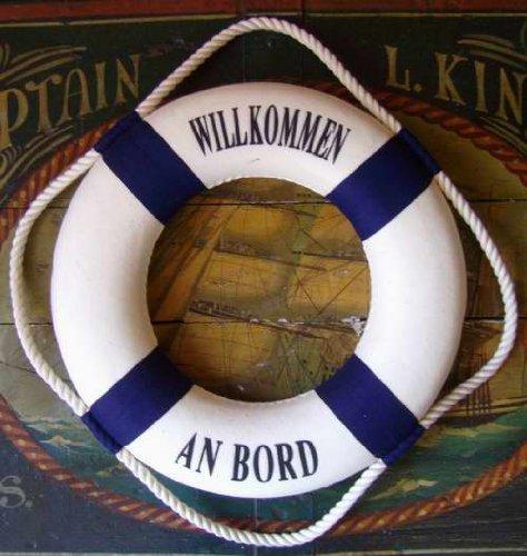 Deko Rettungsring blau/weiß Willkommen an Bord 25cm (Rettungsring Willkommen Bord An)