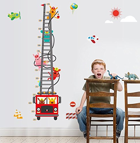 feuerwehr wandsticker Beyond Kinderzimmer Wandsticker Wachstum Diagramm Feuerwehr Wandtattoo Wandbilder Aufkleber