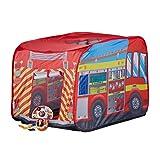 Relaxdays Spielzelt Feuerwehr, Pop up Kinderzelt mit Automotiv, für Drinnen und Draußen, 70x110x70 cm, ab 3 Jahre, rot
