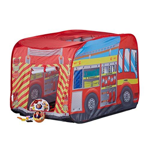 feuerwehrzelt Relaxdays Spielzelt Feuerwehr, Pop up Kinderzelt mit Automotiv, für Drinnen und Draußen, 70x110x70 cm, ab 3 Jahre, rot