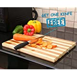 Tran Taran Non-slip Wooden Bamboo Cutting Board with Antibacterial Surface, Professional Heavy Duty Durable Chopping Board with Finger Hole for Cutting and Chopping Vegetables Fruit Bread Meat, Perfect Dual Tone Wood Serving Tray Board