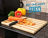 #9: Tran Taran Non-slip Wooden Bamboo Cutting Board with Antibacterial Surface and Finger Hole, (Chopping Board)