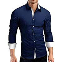 Juliyues Herren Langarmshirt,Männer Formale Slim Button Fit Langarm-Kleid Shirt Geschäft Hemden Top Bluse