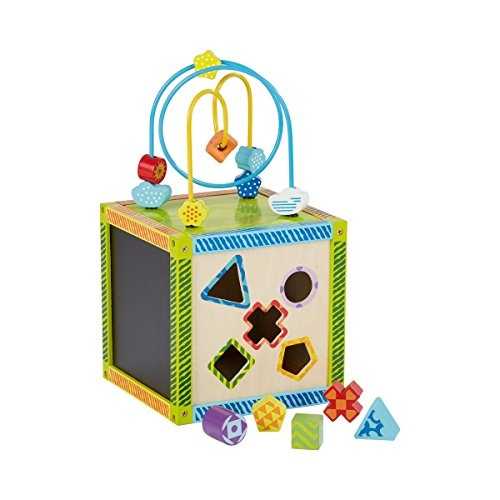 solini Motorikwürfel mit Schleife / Steckbausteine / Aktivitäten Würfel / Holzspielzeug / Kinderspielzeug - Holz, 7 Teile, Farbe: Mehrfarbig - Holzspiel für Junge / Mädchen