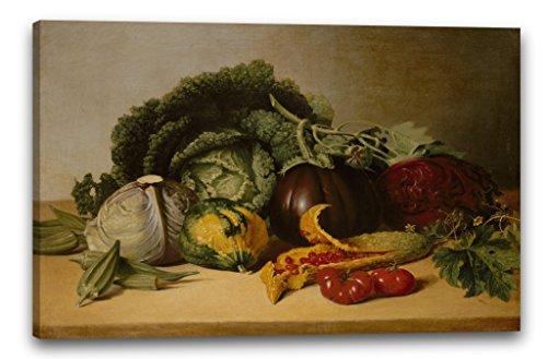 Printed Paintings Leinwand (100x70cm): James Peale - Stillleben: Balsam-Apfel und Gemüse