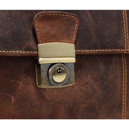 Greenburry Vintage Aktentasche Leder 42 cm Laptopfach braun