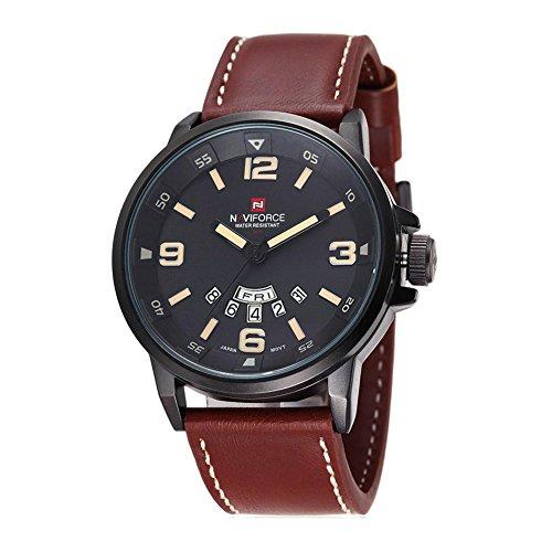 Herrenuhr - NAVIFORCE Herren Quarz-Sport-Luxus-Armbanduhr-Datum Tag Militaer Schwarz Braun