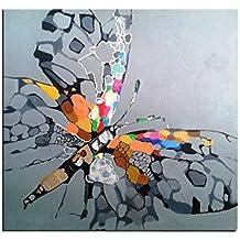 Cuadro mariposa multicolor sobre fondo gris de pintura al óleo sobre lienzo hecho a mano Art contemporáneo, madera, Gris - Multicolore, 60_x_60_cm