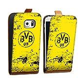 DeinDesign Samsung Galaxy S6 Edge Tasche braun Hülle Flip Case karamell Borussia Dortmund BVB Fanartikel