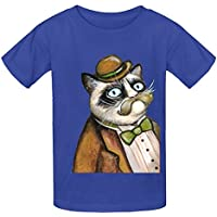 Dapper Grumpy Cat Gatti con baffi Gioventù girocollo stampa Camicie