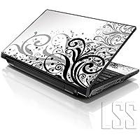 """LSS 15""""y 15,6pulgadas portátil notebook piel Sticker Cover Art vinilo para 13.3"""" 14""""15.6"""" 16""""HP Dell Lenovo Apple Asus Acer Compaq (libre 2muñeca incluye almohadilla) blanco y gris Floral"""