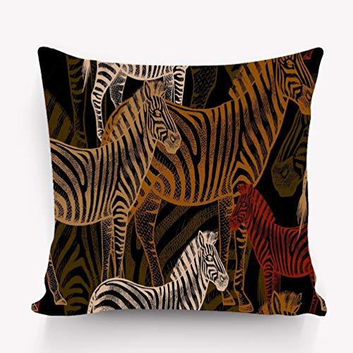 (rongxincailiaoke Kissenbezüge Pillow case Seamless Pattern African Zebra Animals Black Background Template to Create Fabric Wallpaper Paper 18 * 18 inch)