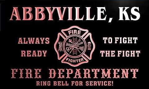 qy55994-r FIRE DEPT ABBYVILLE, KS KANSAS Firefighter Neon Sign