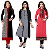 Ramdev Women's Cotton Semi-Stitched Combo Of 3 Kurti (Multicolor_Free Size)