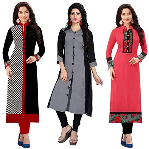 Ramdev Women\'s Cotton Semi-Stitched Combo Of 3 Kurti (Multicolor_Free Size)