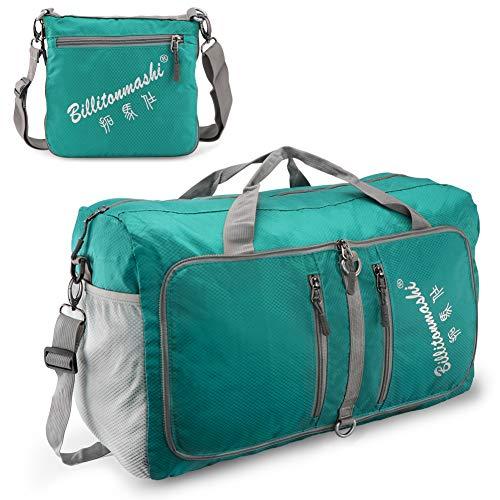 SueH Design Bolsa de Lona Plegable de Viaje 40L | Capacidad de Carga 25kg | Poliéster Ultra Repelente al Agua para Viajes, Gimnasio y Compras, Lago Azul