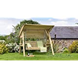 Wooden Garden Swing 2 & 3 Seat Chair Seat Hammock Bench Furniture Lounger (2 Seater Swing with Canopy)