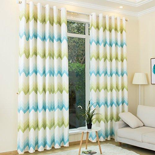 Kinlo 2 pannelli 145*245cm tende oscurante con occhielli verde e blu poliestere isolamento 90% tende moderno protegge i mobili, diviso spazio e diviso spazio e decora stanza ecc.