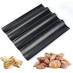 ilauke Plaque Moule à 4 Baguettes et Biscuits Anti-Adhésif de Cuisson Pain