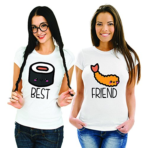 Coppia Di T Shirt Magliette You And Me Best Friend Sushi 2 Bianche
