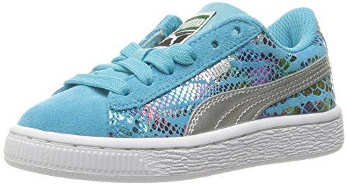 Puma Suede Sport Lux Kids Sneaker (Little Kid) Blue Atoll/ Puma Silver