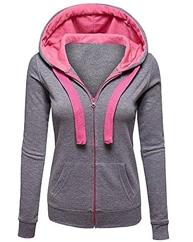 Mesdames Plaine Sweat à Capuche Femmes Zip Haut Veste Hoodies Sweat-shirt Gris XL
