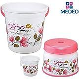 """Siti Plast Bathroom Set Bucket 22 Liters, Mug 1.5 Liters, Stool 9"""" White & Pink"""