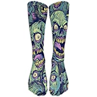 Men Novelty Green Zombie Classic Over The Calf Sock Athletic Crew Stocking Unisex