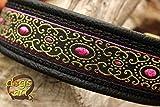 Hundehalsband Leder Pink Schwarz Klickverschluss Gold Messing