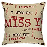 I Miss You Funny Logo Pillowcase - Zippered Pillow Case Cover, Pillow Protector, Throw Pillow Cover - Standard Size 18x18 Inch, Double-Sided Print Pillowcase Covers