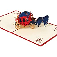 MORESAVE Carrello del cavallo 3D pop-up Greeting Card mestiere Handmade Wedding della festa di compleanno Regali Inviti