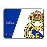 Alfombrilla Real Madrid para PC-(RM,Superficie de Tela Avanzada, Base de Caucho Natural, Compatible con Ratón Laser y Óptico, Producto oficial Euroliga, 350x250x3mm) Color azul y blanco