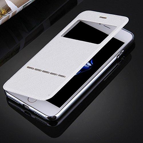 Hülle für iPhone 7 plus , Schutzhülle Für iPhone 7 Plus Cross Texture Galvanisieren TPU Rückseitige Abdeckung Horizontale Flip Leder Tasche mit Call Display ID ,hülle für iPhone 7 plus , case for ipho White