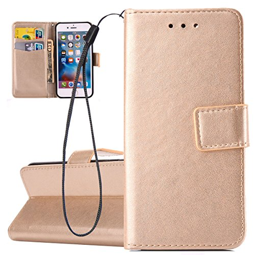 Custodia per Apple iPhone 6 Plus, ISAKEN iPhone 6S Plus Flip Cover, 5.5 inch Custodia con Strap, Elegante Bookstyle Contrasto Collare PU Pelle Case Cover Protettiva Flip Portafoglio Custodia Protezion Oro