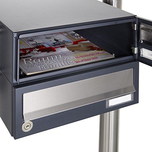 Standbriefkastenanlage aus Edelstahl V2 A geschliffen – Design BASIC 385-VA (3 Parteien) - 6