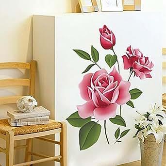 YHF-0111 Autocollant mural décoratif pour maison/chambre Motif roses