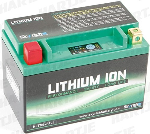 Batteria moto Skyrich agli ioni di Litio YTX9-BS / HJTX9(L) FP / YTR9-BS Dimensioni : L 150mm W 87mm H 93mm. 100% ecologica.