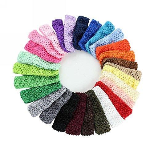 Preisvergleich Produktbild WINOMO 24St elastischem Crochet Haarband Stirnbänder Haargummis für Baby Girls Kleinkind