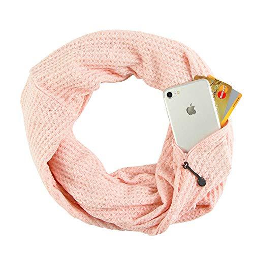 Hethrone Infinity Schal mit versteckter Reißverschlusstasche, leicht, einfarbig, Unisex Gr. 90, Pink Thicker Fashion Unisex Schal