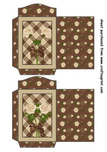 Feuille A4 pour confection de carte de vœux - 2 Chocolate and cream rose seed packets 1 par Sharon Poore